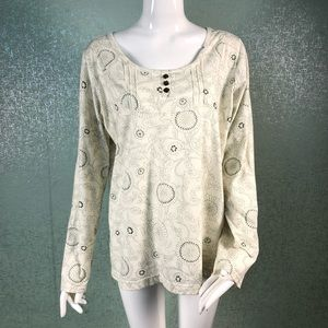 Columbia Floral XL Cream Colored Long Sleeve Top